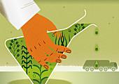 Green fuel, illustration