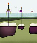 Oil wells drilling through ocean, illustration