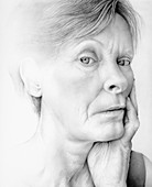 Close up of aging woman, illustration