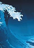 Large wave cresting in storm, illustration