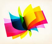 Rotating colourful sheets, illustration