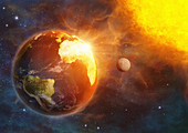 Planet earth and global warming, illustration