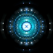 Circles exploding from bright light, illustration