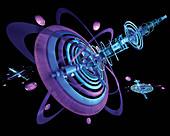 Futuristic orbiting satellites, illustration