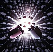 Exploding futuristic new medicine capsule, illustration