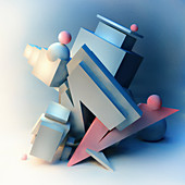 Abstract architectural sculpture, illustration