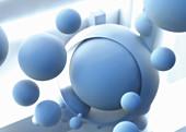 Floating blue spheres, illustration