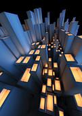 Abstract futuristic city architecture, illustration