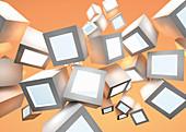 Abstract pattern of floating illuminated cubes, illustration