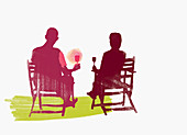 Couple drinking wine outdoors, illustration