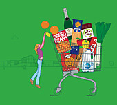 Woman struggling to push huge shopping trolley, illustration