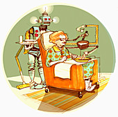 Robot serving old woman soup, illustration