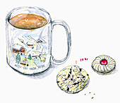 Coffee mug and cookie, illustration