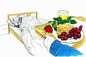 Man bringing tray with breakfast, illustration