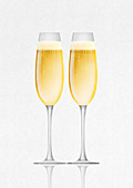 Champagne in two champagne flutes, illustration
