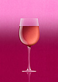 Rose wine in glass, illustration