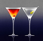 Two different martini cocktails, illustration