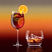 Glass of sangria cocktail, illustration