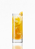 Vodka and orange juice drink with ice cubes, illustration