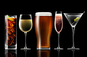 Range of different alcoholic drinks in a row, illustration