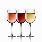 Glasses of red, white and rose wine in a row, illustration