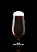 Stemmed glass of stout beer, illustration