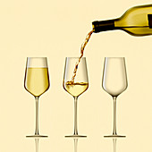 White wine being poured, illustration