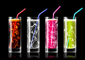 Row of brightly coloured fizzy drinks, illustration
