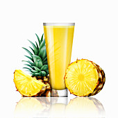 Fresh pineapple and glass of juice, illustration