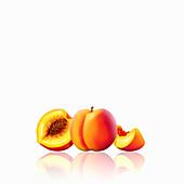 Fresh peaches, whole, half and slice, illustration
