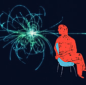 Scientist looking at colliding swirling trails, illustration