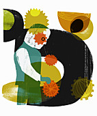 Abstract pattern on worker turning cogs, illustration