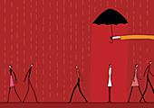 Hand holding umbrella over woman in rain, illustration