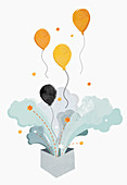 Balloons floating from box, illustration