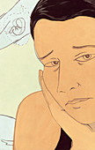 Sad woman thinking of embryo, illustration