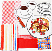 Coffee and pancakes with fruit on table, illustration
