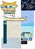 Tropical hut and floor plan, illustration