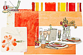 Food and drink on patio table, illustration