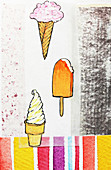 Ice cream cones and ice lolly, illustration