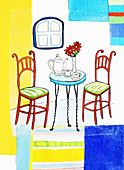 Teapot and teacups on table, illustration