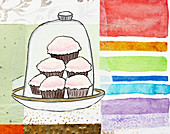 Cupcakes stacked under cake dome, illustration
