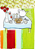 Breakfast on table with flowers, illustration