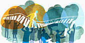 Man walking on bridge, illustration