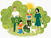 Family recycling, illustration