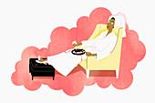 Woman in bathrobe drinking wine, illustration