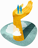 Couple standing in large hand, illustration