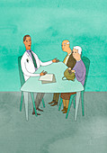 Doctor talking to elderly couple, illustration