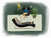 Depressed man talking to therapist, illustration