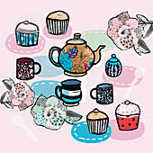 Tea and cupcakes, illustration