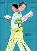 Couple reading, illustration